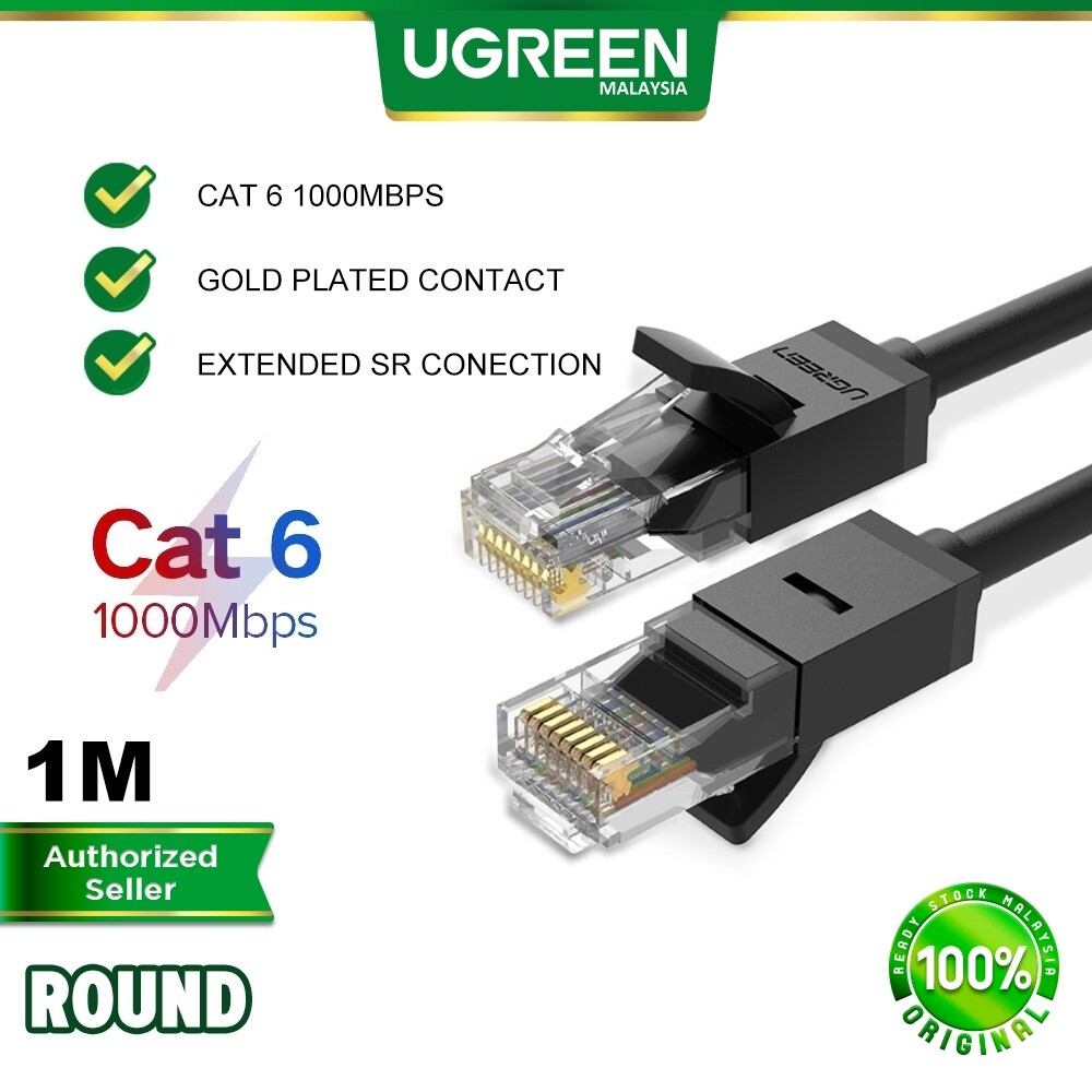 UGREEN Cat 6 Ethernet Patch Cable Gigabit RJ45 Network Wire Lan Cables Plug RJ 45 Wifi Wi-Fi Connector Mac Computer PC Laptop Router Modem Printer XBOX PS4 PS3 PSP MSI Dell Asus Acer Hp 0.5 1 2 3 5 10 Meter