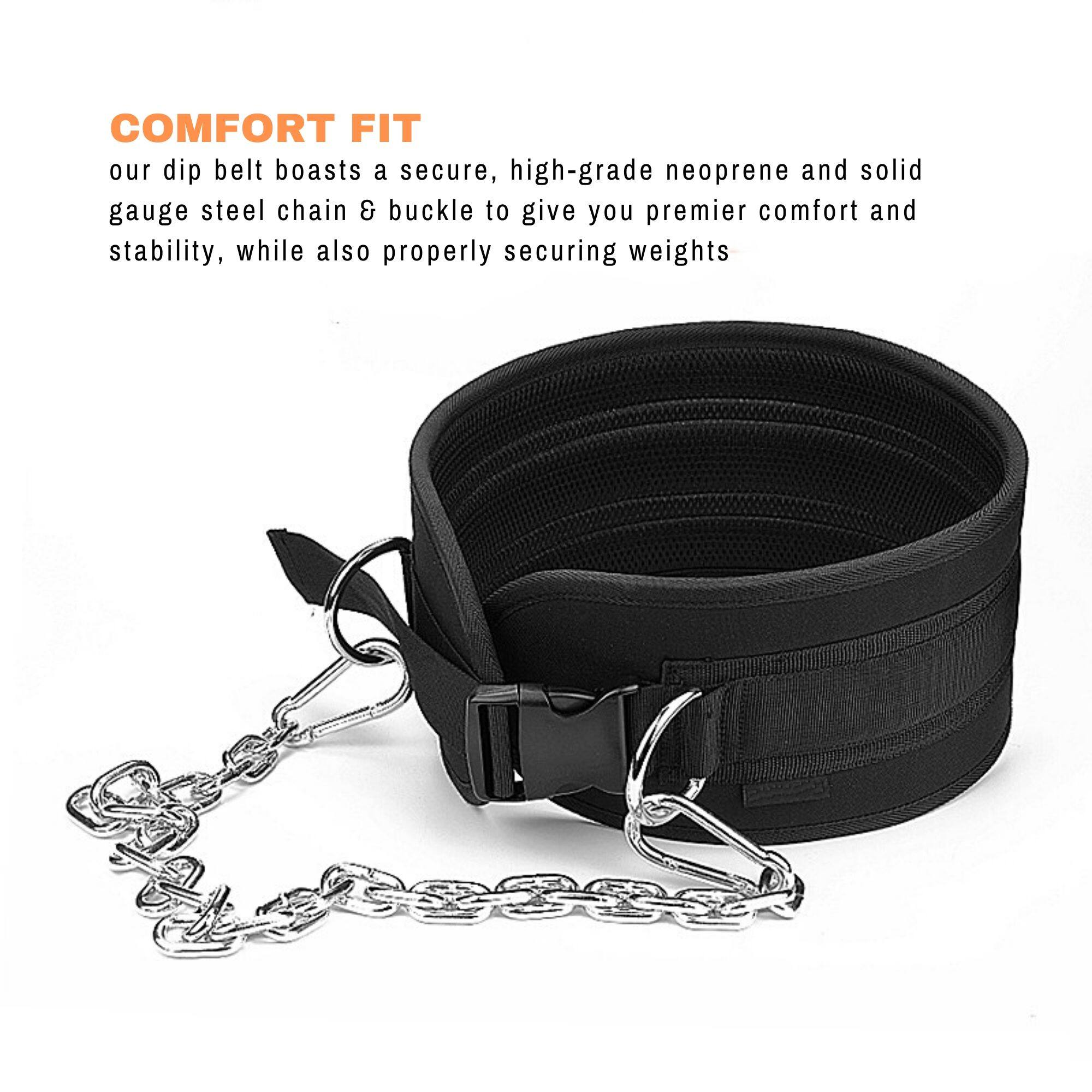 FITUALIZED Premium Dip Belt for Progressive Overload- Special Buckle to Ensure Tightness- Comes with Heavy Duty Steel Chain, Comfort Fit Neoprene & Double Stitching- Excel in Your Weightlifting & Bodybuilding Workouts, Sports, Exercise at the Gym Now