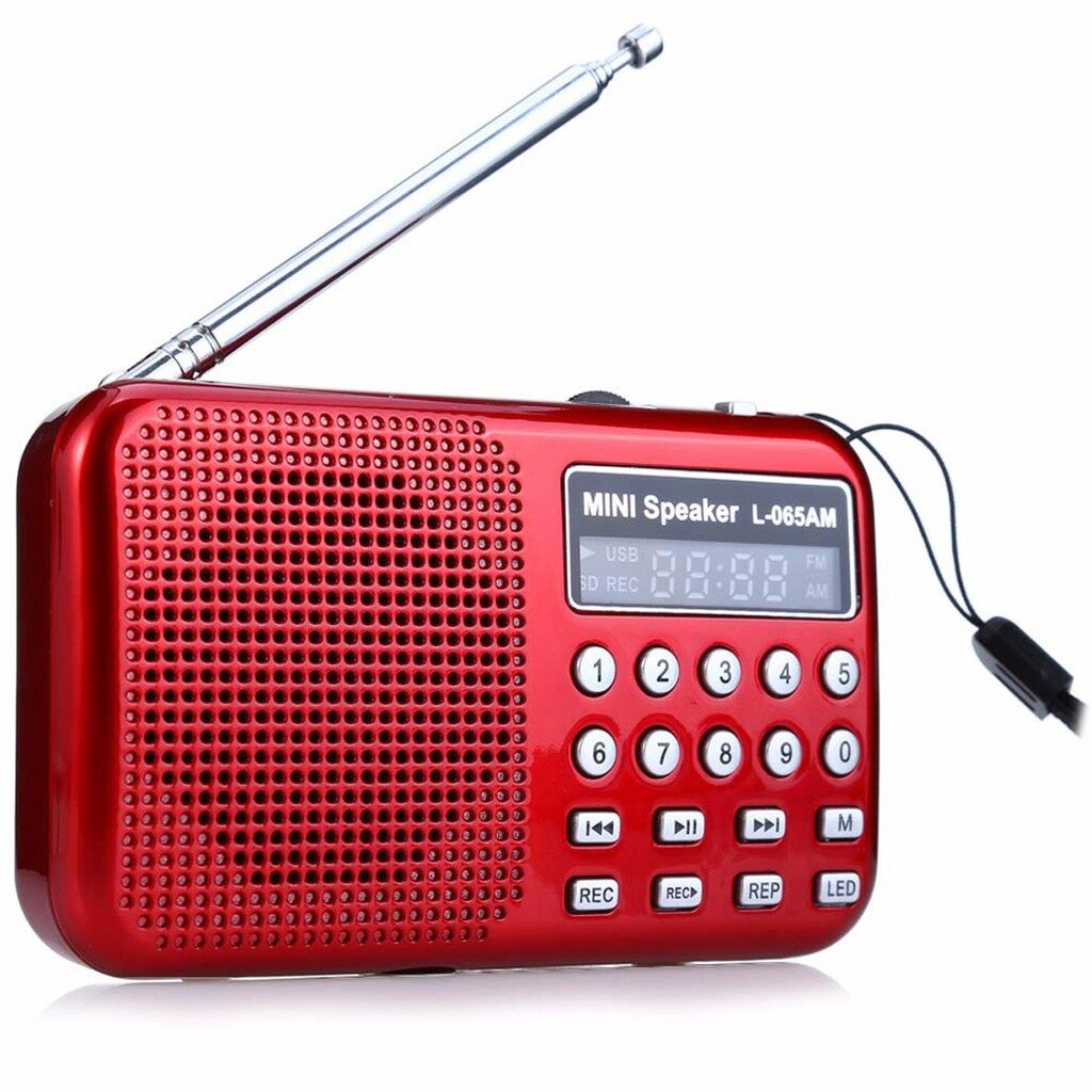 Radios - PORTABLE FM Radio / AM Stereo Receiver Player MP3 Player TF Card Recorder - RED / BLUE / BLACK