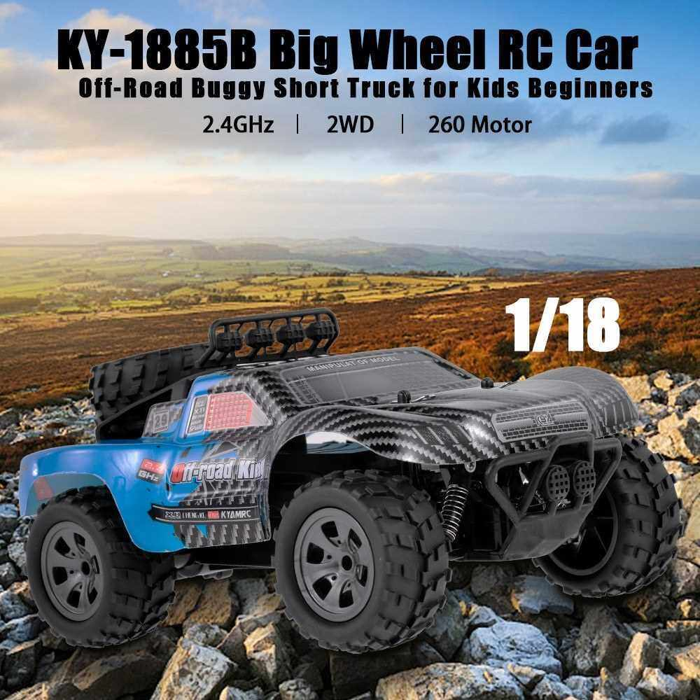 KYA KY-1885B 2.4GHz 1/18 2WD Big Wheel RC Car Off-Road King Short Truck for Kids Beginners (Blue)
