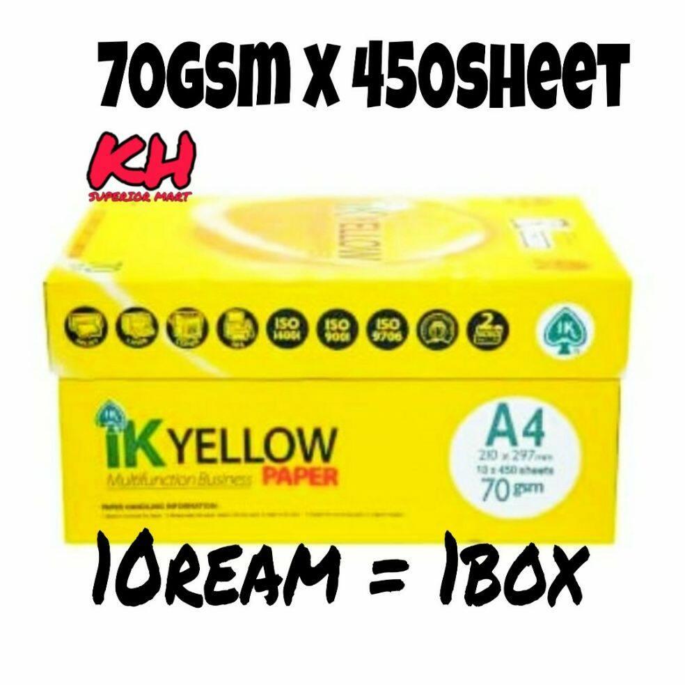 IK Yellow Paper A4 70gsm 450sheet 10ream=1box