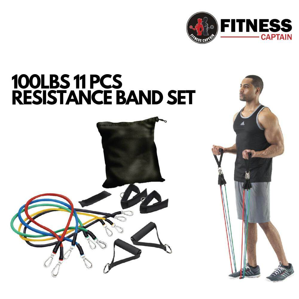 Fitness Captain Gym Muscle Rope 100lbs 11pcs Resistance Band (A)