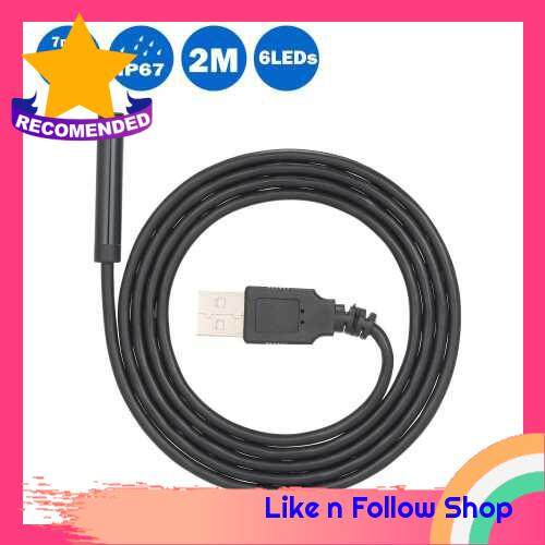 7MM 6 LED Lens Endoscope IP67 Waterproof Inspection Borescope Wire Snake Tube Camera USB Interface Compatible with PC, 2M (Black)