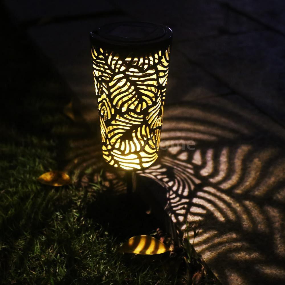 Outdoor Lighting - 2 PIECE(s)/ SET Hollow-Out Design LEDs Solar Powered Energy Intelligent Sensitive Light Control Lawn Light - BLACK