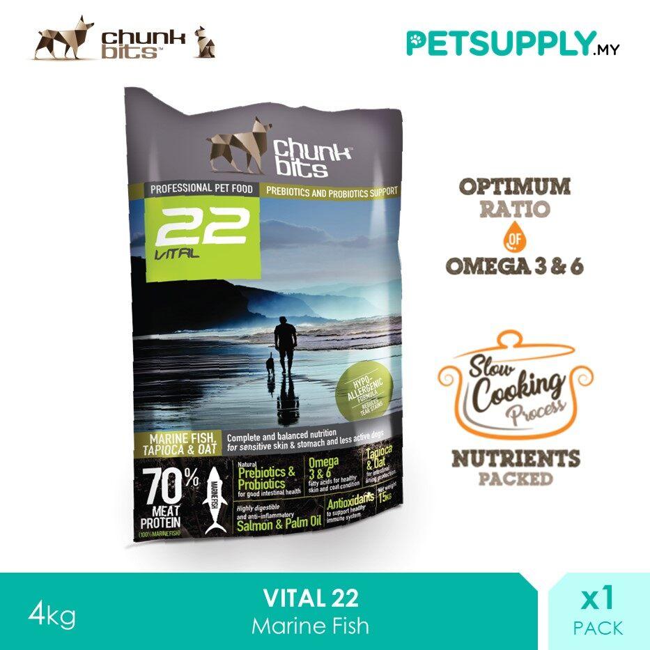 Chunk Bits 4Kg Vital 22 Marine Fish Dog Dry Food [PETSUPPLY.MY]