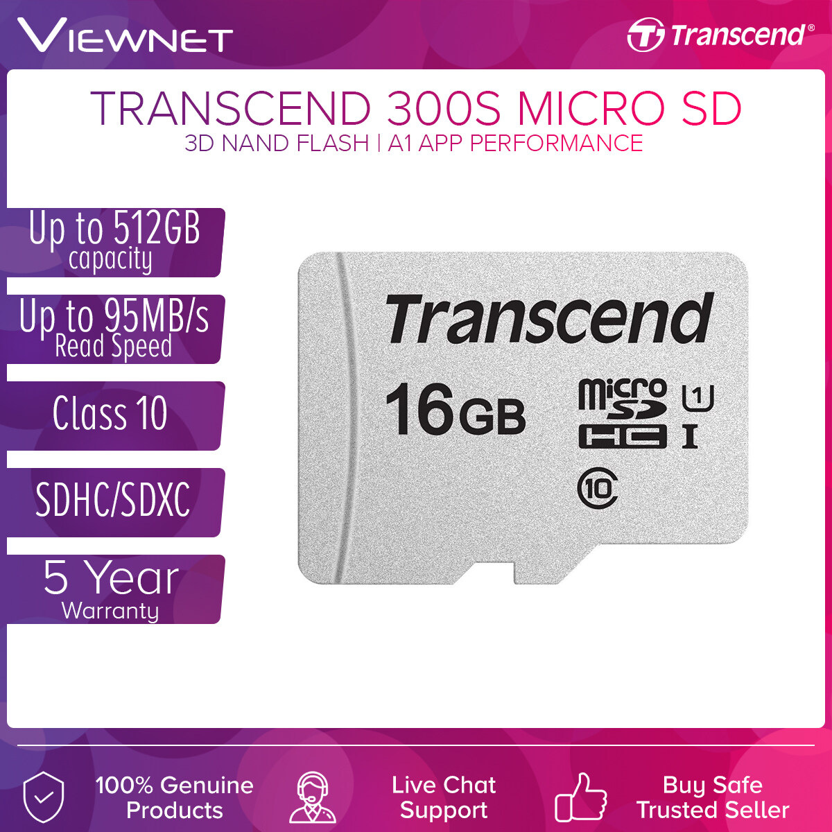 Transcend 300S MicroSD Memory Card with A1 App Performance, Up To 95mb/s Read, Ideal for Smartphone, Tablets and Digital Camera