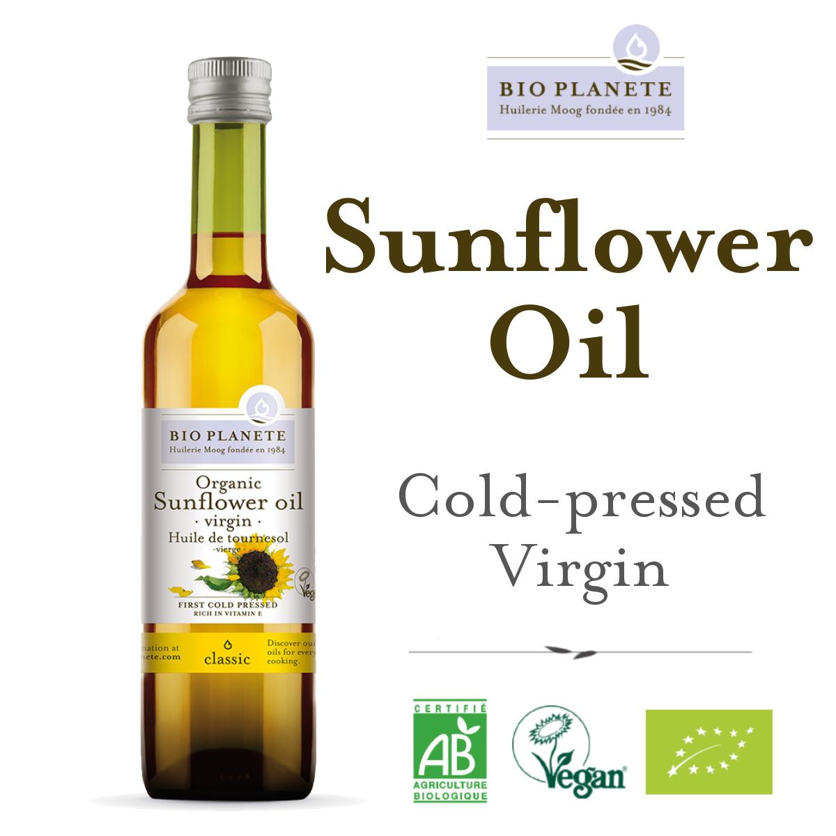 BIO PLANETE Virgin Sunflower Oil (500ml) - Rich in Vitamin E