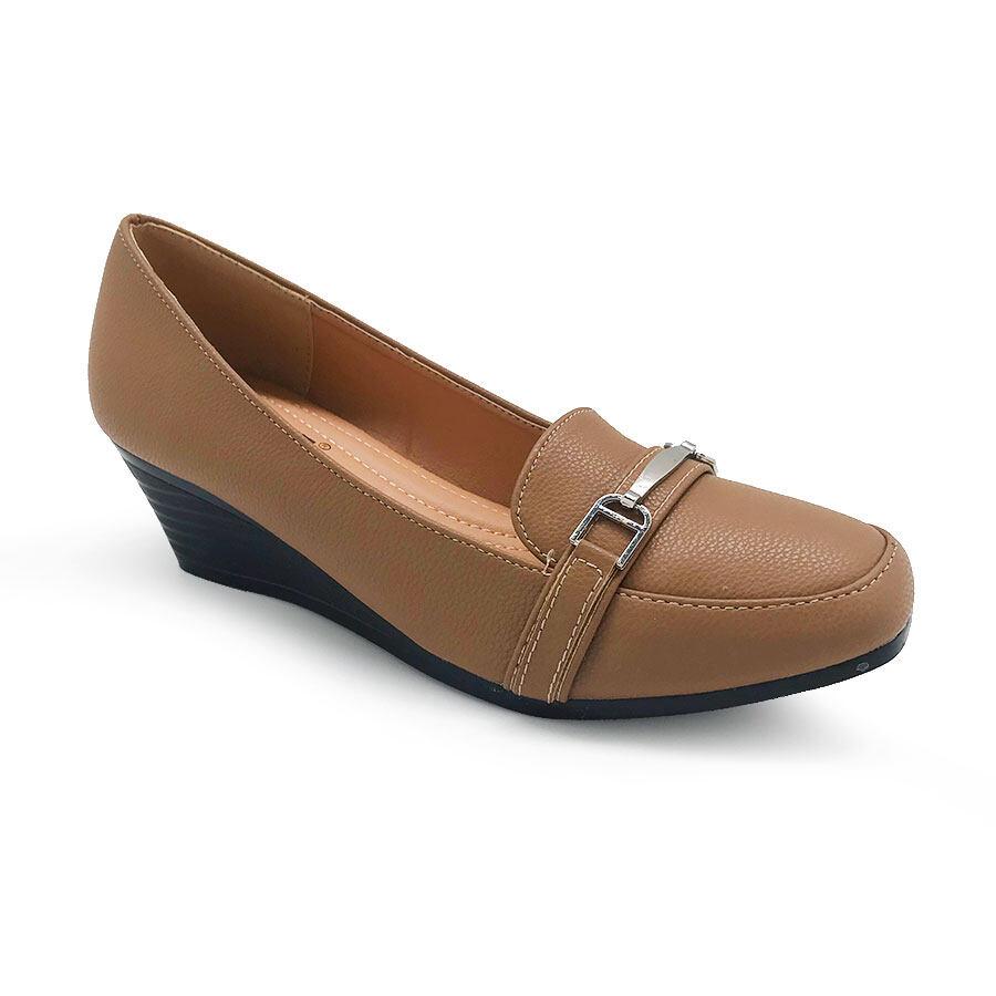 XES Ladies BSLCES08 Formal Closed-Toe Heels Wedges (Black Khaki)