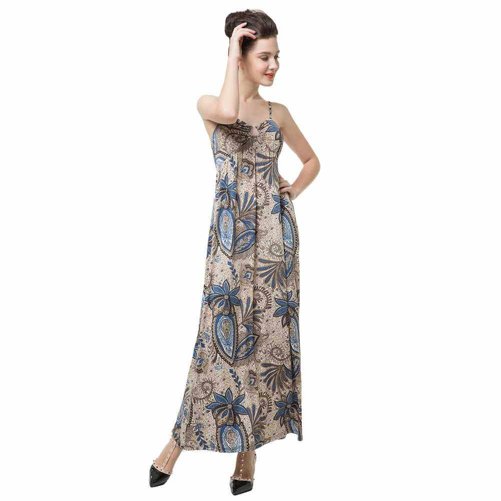 Anself Floral Print V Neck Women's Spaghetti Strap Beach Maxi Dress Dress (Blue)