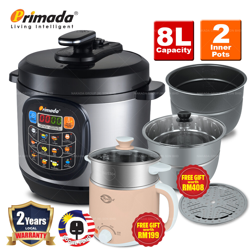 Primada 8 Liter Jumbo Pressure Cooker PC8030 + FREE MARBLE SET/ELECTRIC MULTICOOKER/2 SS POTS/BBQ STEAMBOAT POT PC8030 FREE FG037