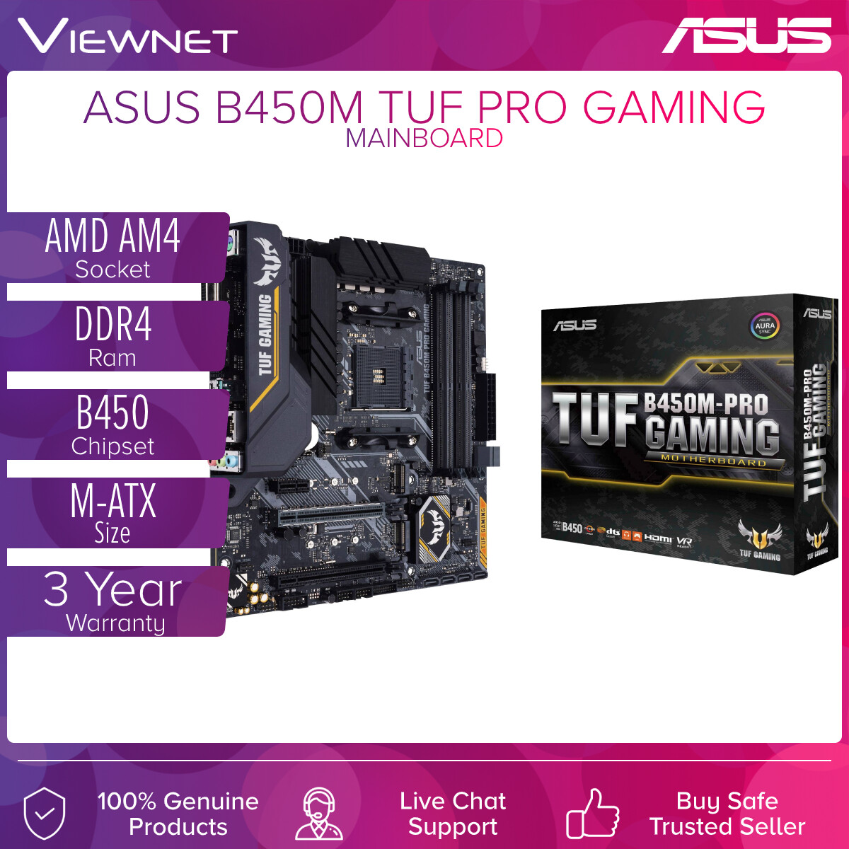 ASUS MAINBOARD AMD AM4 B450M TUF PRO GAMING