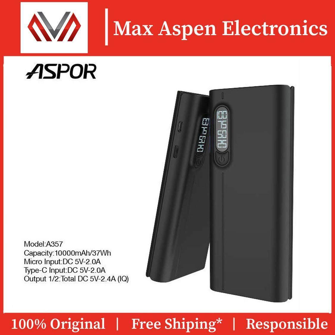 ASPOR A357 10000mAh Power Bank - 100% ASPOR Original Product (1 Year Warranty)