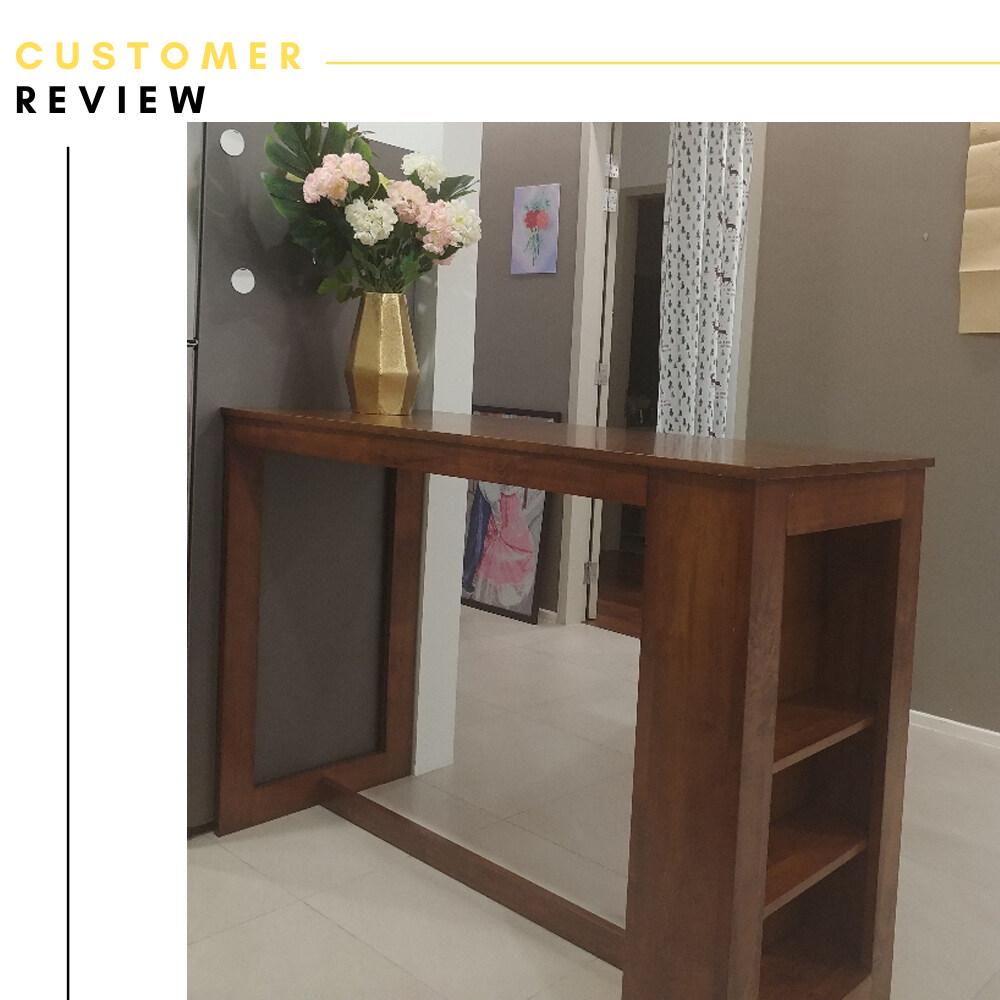 Atmua Atlas Bar Table + 2 Camry Bar Chair (Modern Design) [Full Rubber Wood]