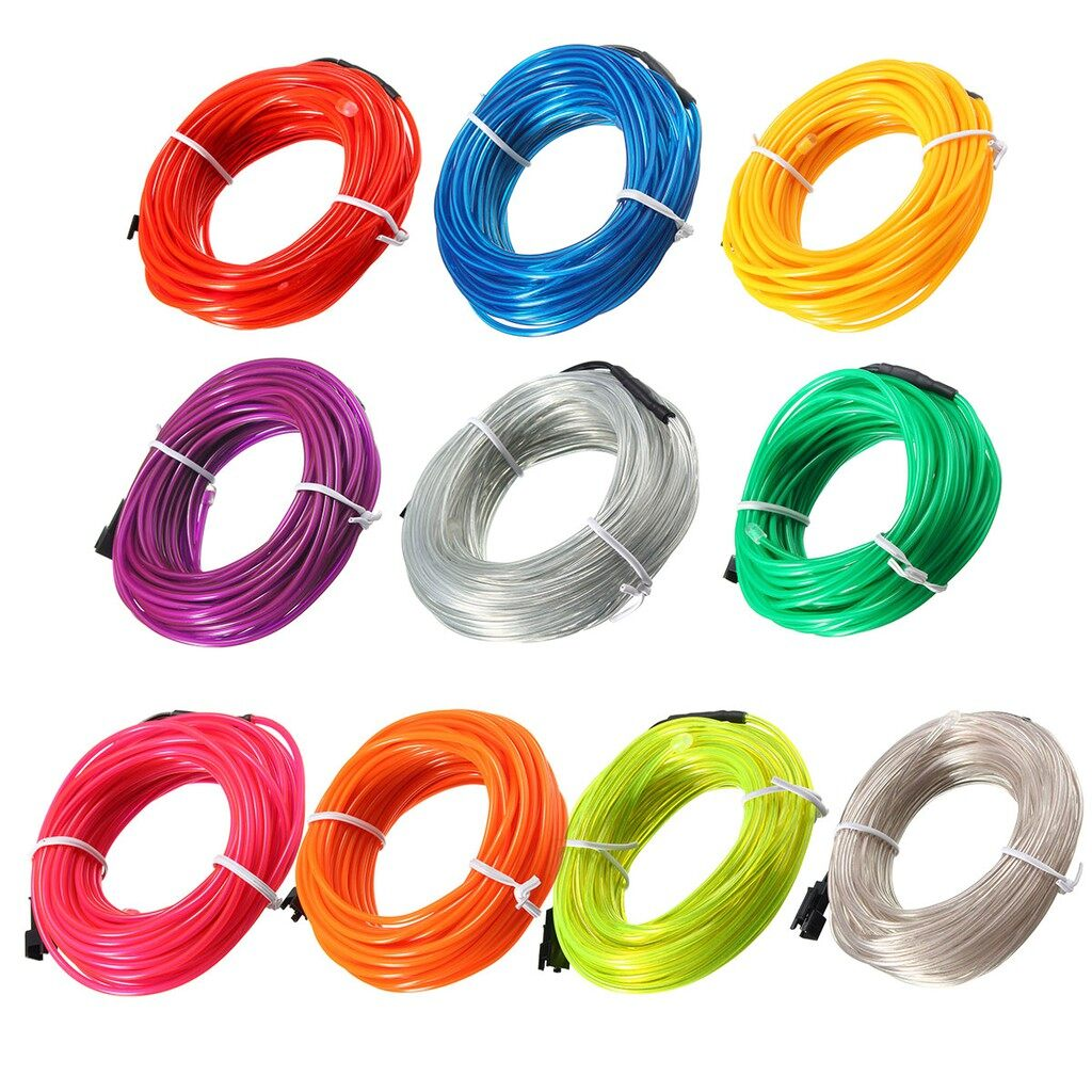 Specialty Lighting - 10M EL Led Flexible Soft Tube Wire Neon Glow Car Rope Strip Light Xmas Decor - RED / BLUE / GREEN / YELLOW / WHITE / PURPLE / PINK / ORANGE