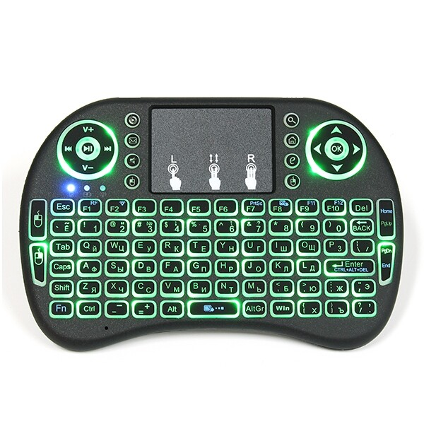 Keyboards - I8 Russian WIRELESS Three Color Backlit 2.4GHz Touchpad Keyboard Air Mouse - Computer Accessories