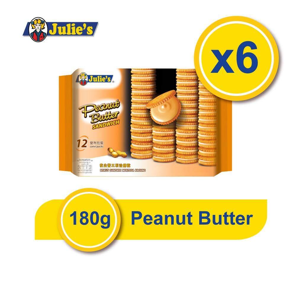 Julie's Peanut Butter Sandwich 180g x 6 pack + FREE 5 Biscuit Pack