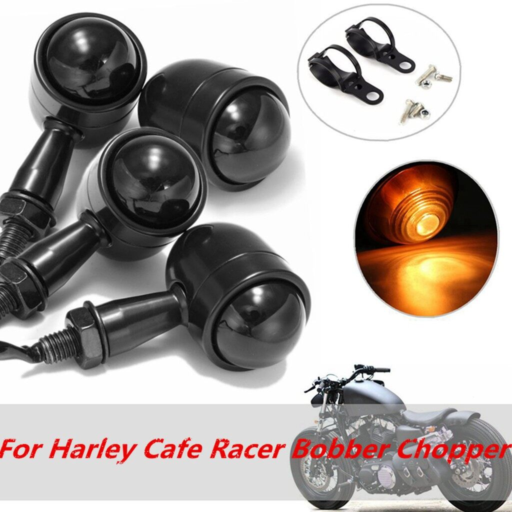 Car Lights - 4x Metal Turn Signal Blinker Light& Bracket For Harley Cafe Racer Bobber Chopper - Replacement Parts