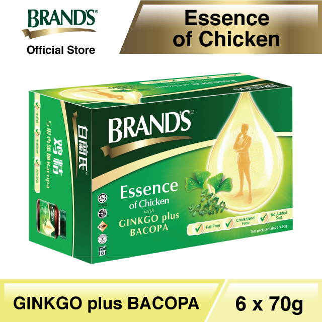 BRANDS Essence of Chicken with Bacopa + Ginkgo Single Pack (6s) - 6 bottles x 70gm [Improves Memory] [Improves Concentration] [Traditional Herb]