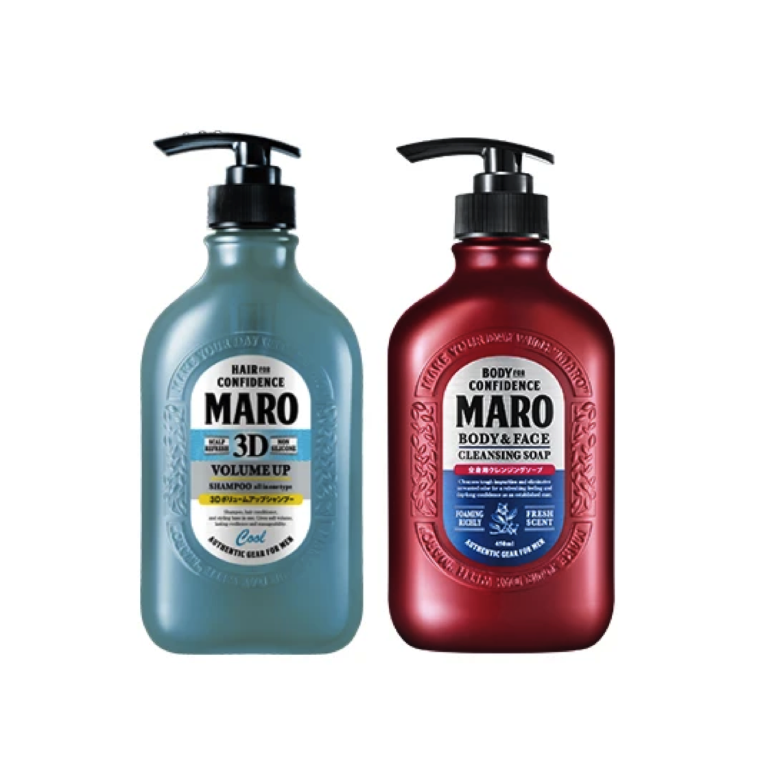 [Combo Set] Maro 3D Volume Up Shampoo Cool 400ml + Maro Body and Face Cleansing Soap 450ml - Original from Japan (READY STOCK)