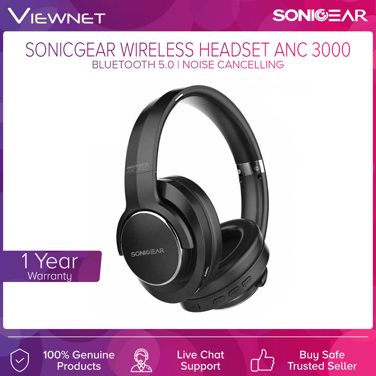 SonicGear Wireless Headset ANC3000 with Bluetooth 5.0, Up To 15 Hours Batery Life, 40MM Driver, Active Noise Cancelling, 3.5 Audio Jack, Side Button