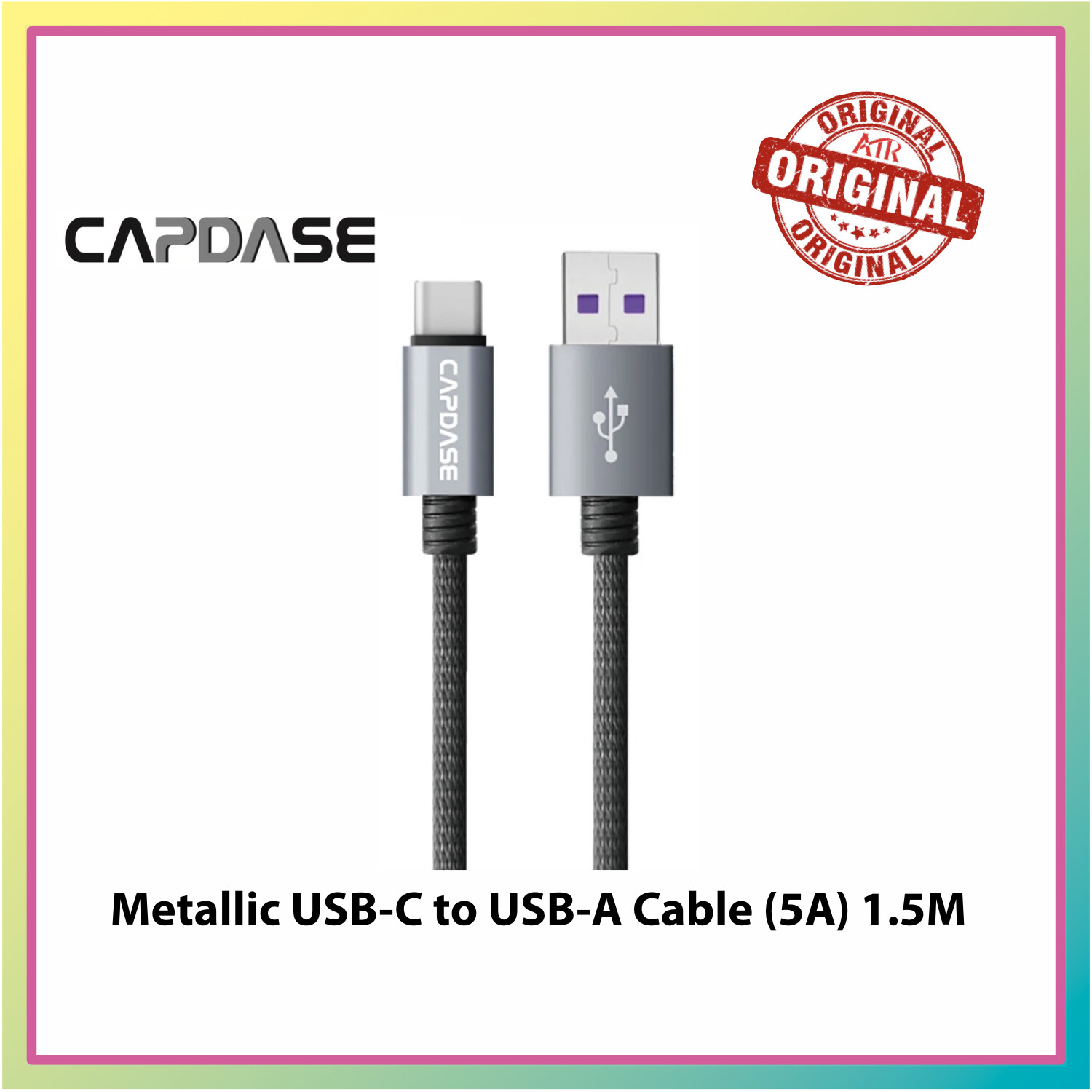 Capdase Metallc CASVQ-5A USB-C TO USB-A Sync And Charge Cable 1.5M (5A)