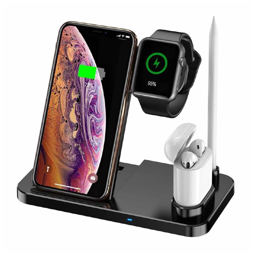 Chargers - 4in1 5W/7.5W/10W WIRELESS Charger Charging Stand Dock For iPh XS X 8 plus XR - WHITE / BLACK