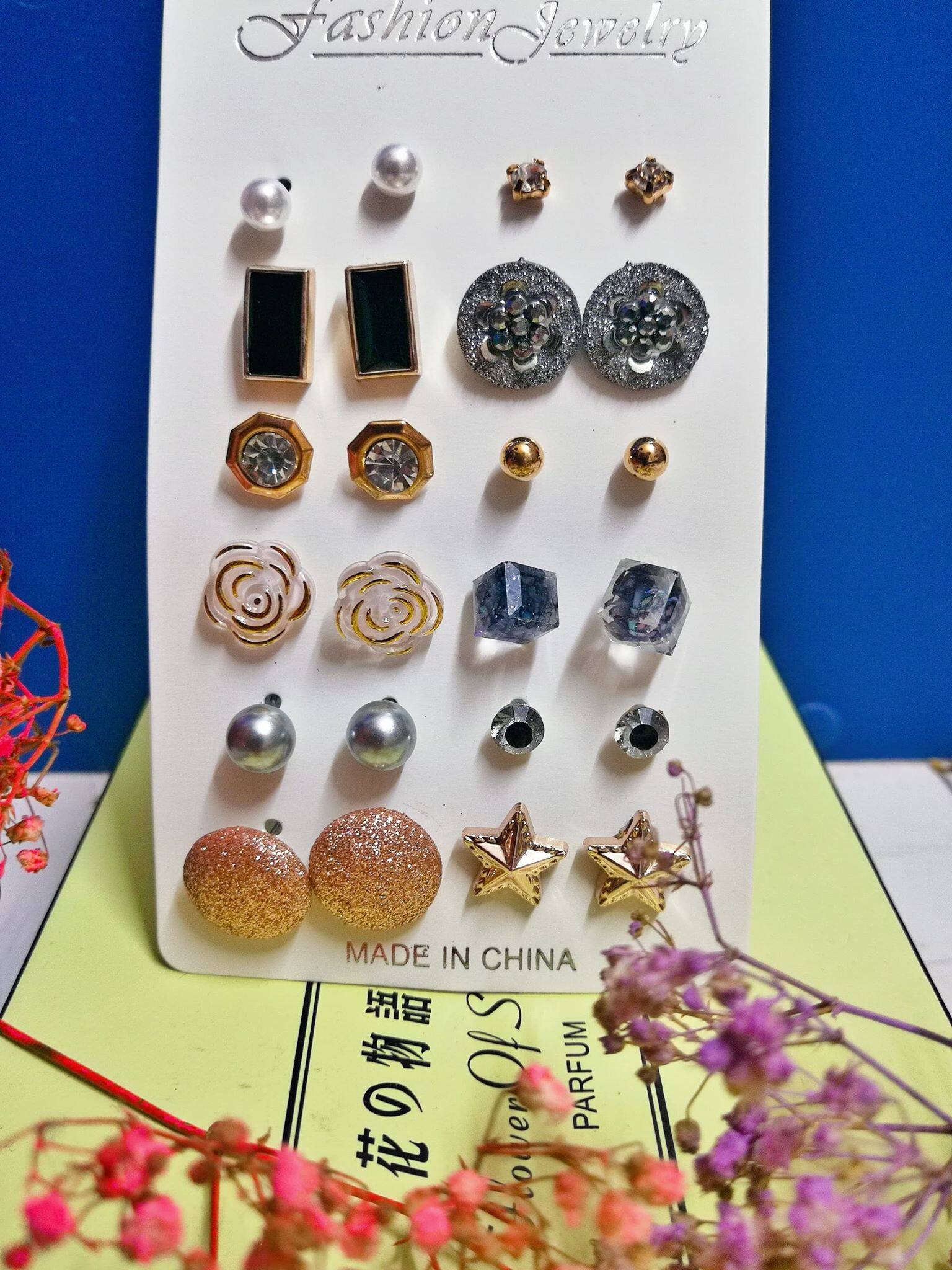 12 Pairs Pack Set Mixed Stud Earrings For Women Ear Studs Fashion Accessories Cute Earrings