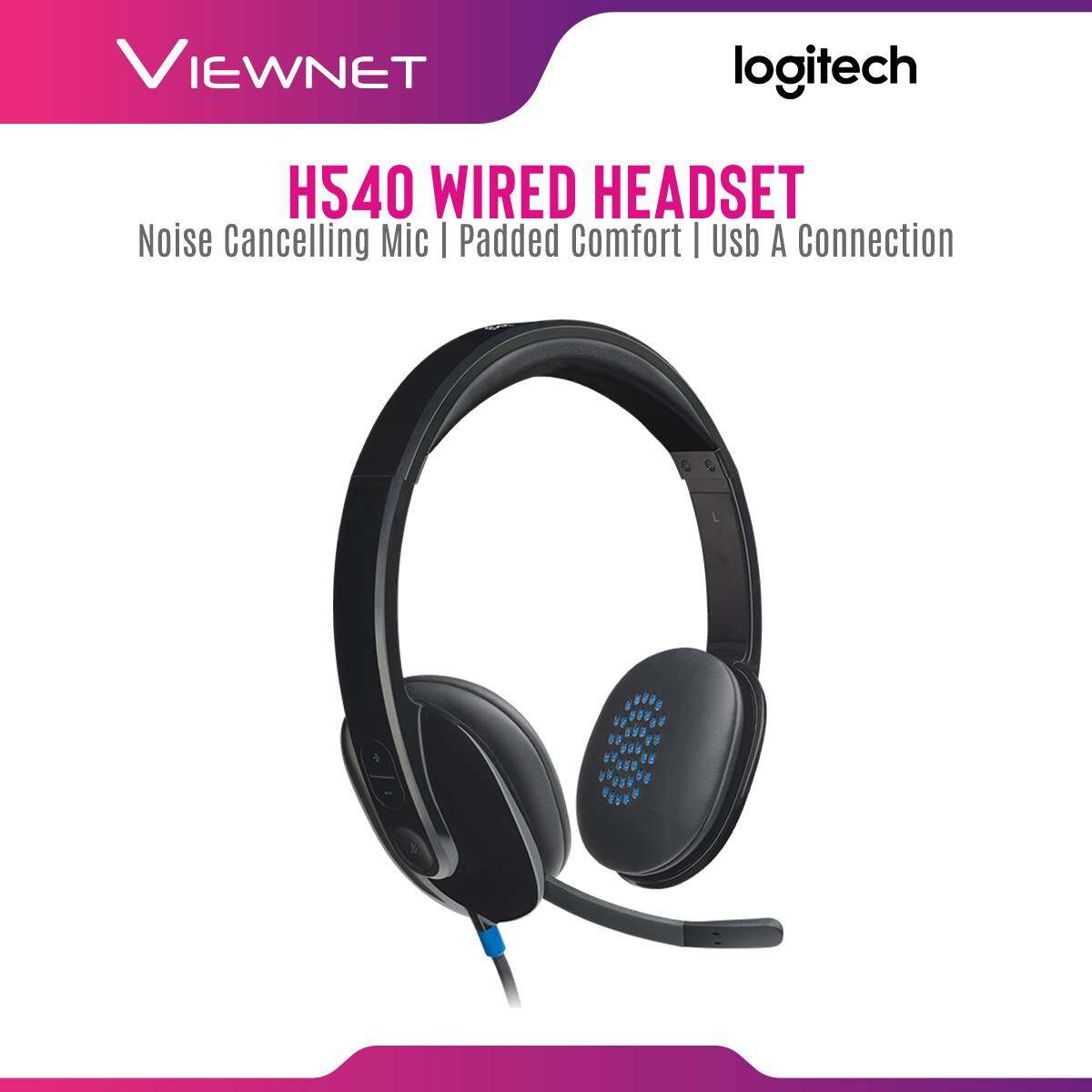 Logitech Wired Headset H540 with Noise Canceling Mic, On-Ear Controls, Padded Comfort, USB-A Connection (981-000482)