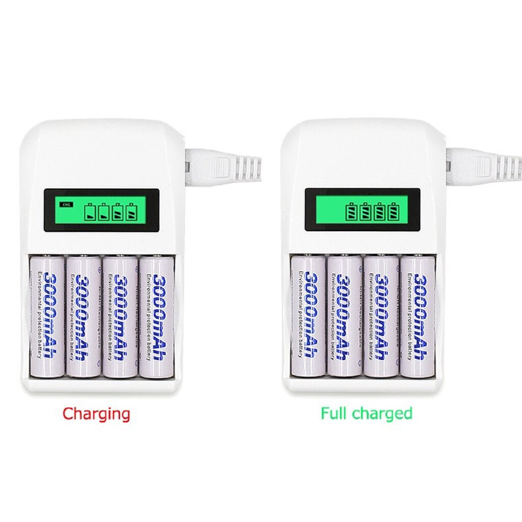 Chargers - Intelligent LCD 4 Slot Rechargeable Battery Power Charger - UK / AU