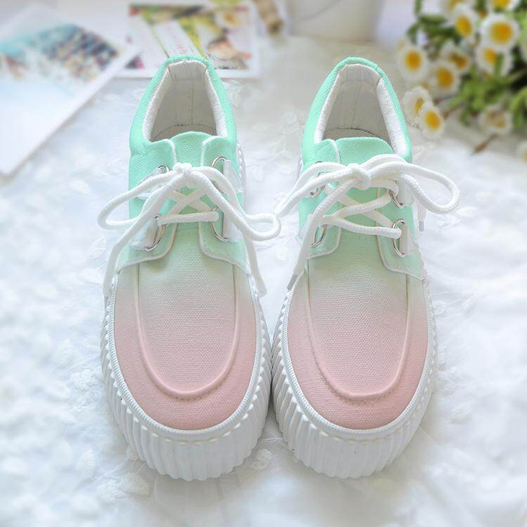 (PRE ORDER) WOMEN LOW CUT THICK-SOLED MINT GRADIENT HAND PAINTED CANVAS CASUAL SHOES
