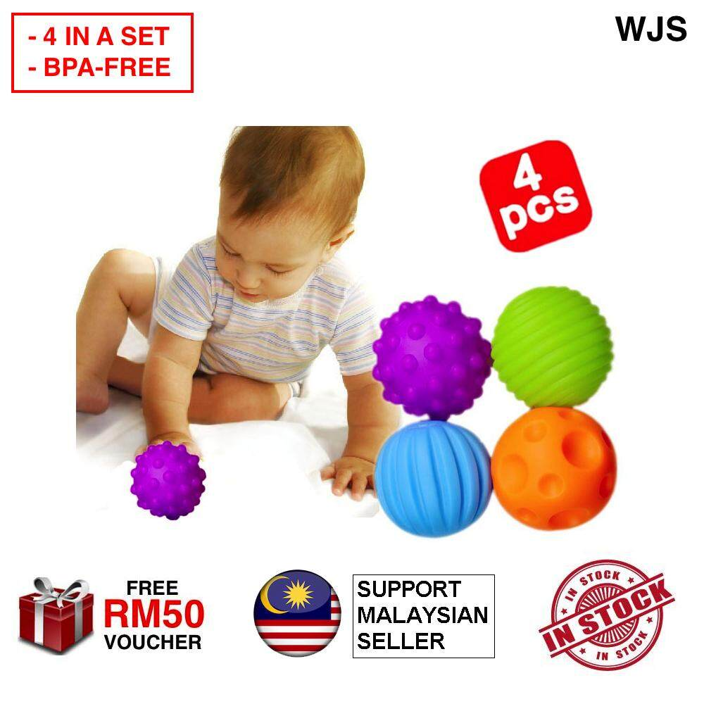 (BPA-FREE MATERIAL) 4pcs 4 pcs WJS Baby Sensory Balls Set Soft Balls Educational Toys STEM Toddler Toy Baby Toys Rubber Ball Play Ball Early Learning Early Education MULTICOLOR [FREE RM 50 VOUCHER]