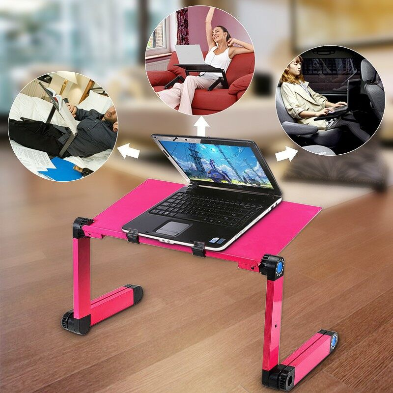 Gadgets - 360 foldable laptop desk Table Fans Stand PORTABLE Desk Bed Sofa Tray - BLACK / RED