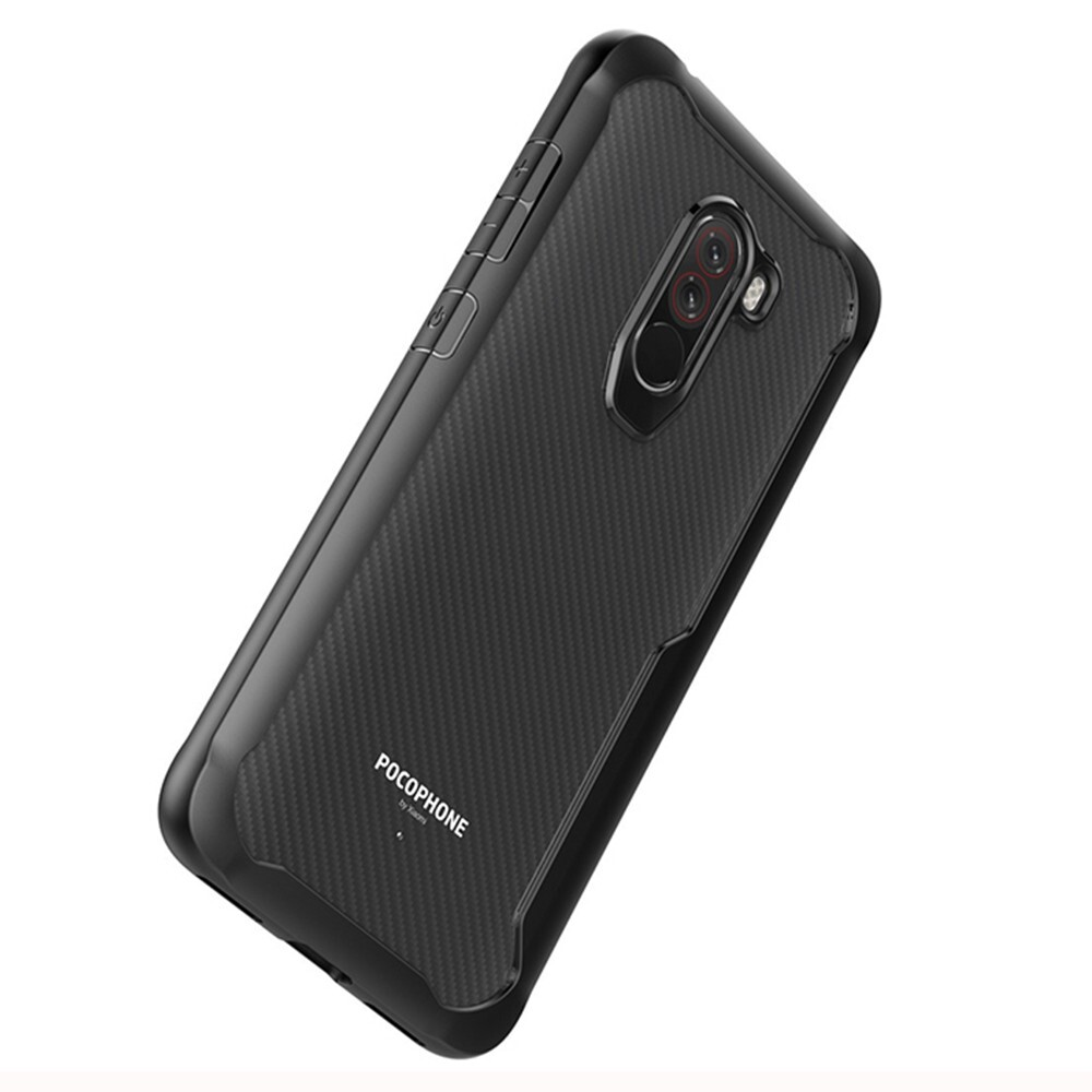iPh Soft Cover - Transparent Hard Cover Protective Case for Xiaomi Pocophone F1 - RED / BLACK