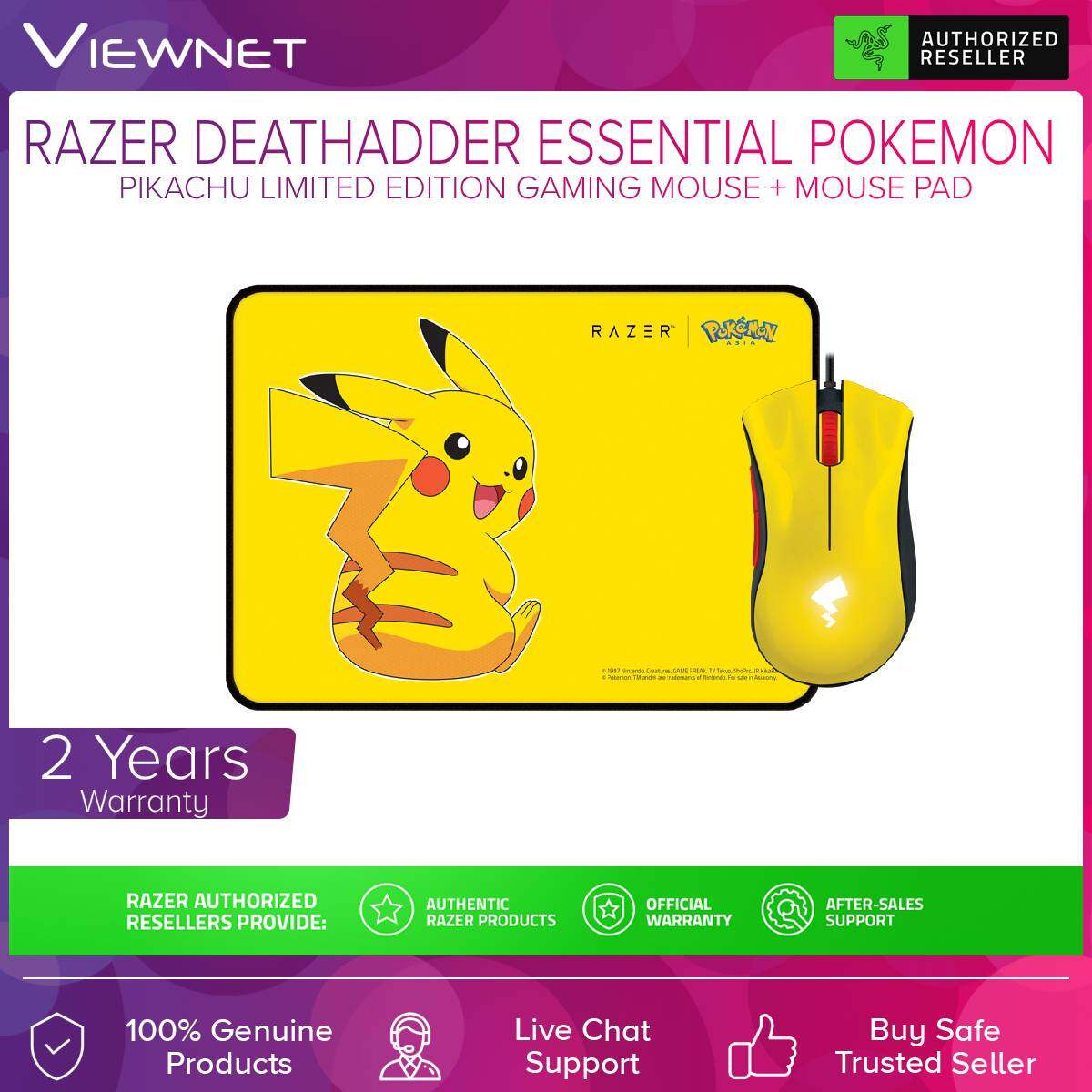 Razer Deathadder Essential Pokemon Pikachu Limited Edition Gaming Mouse + Mouse Pad