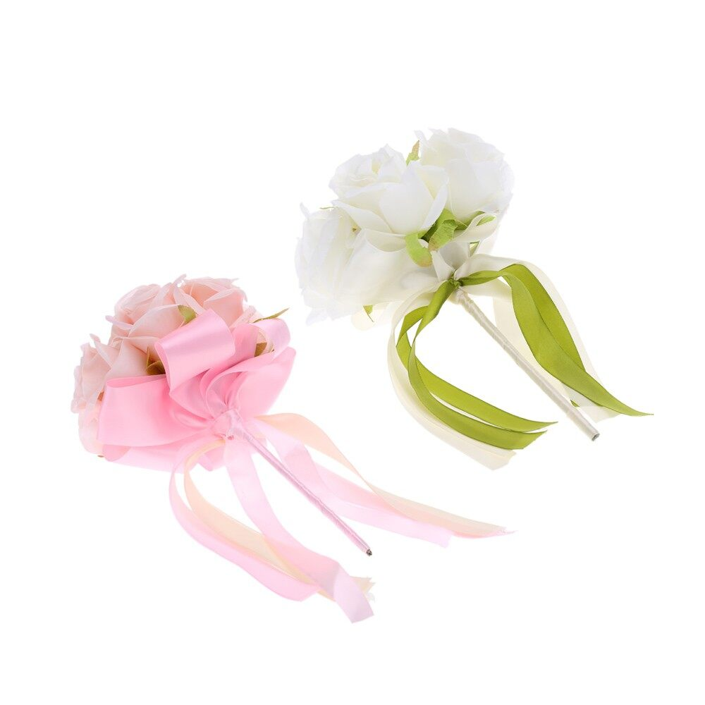 Festive Decor - Wedding Decoration Supplies Hand Made Real Touch Silk Flower Roses Salable Produ - WHITE