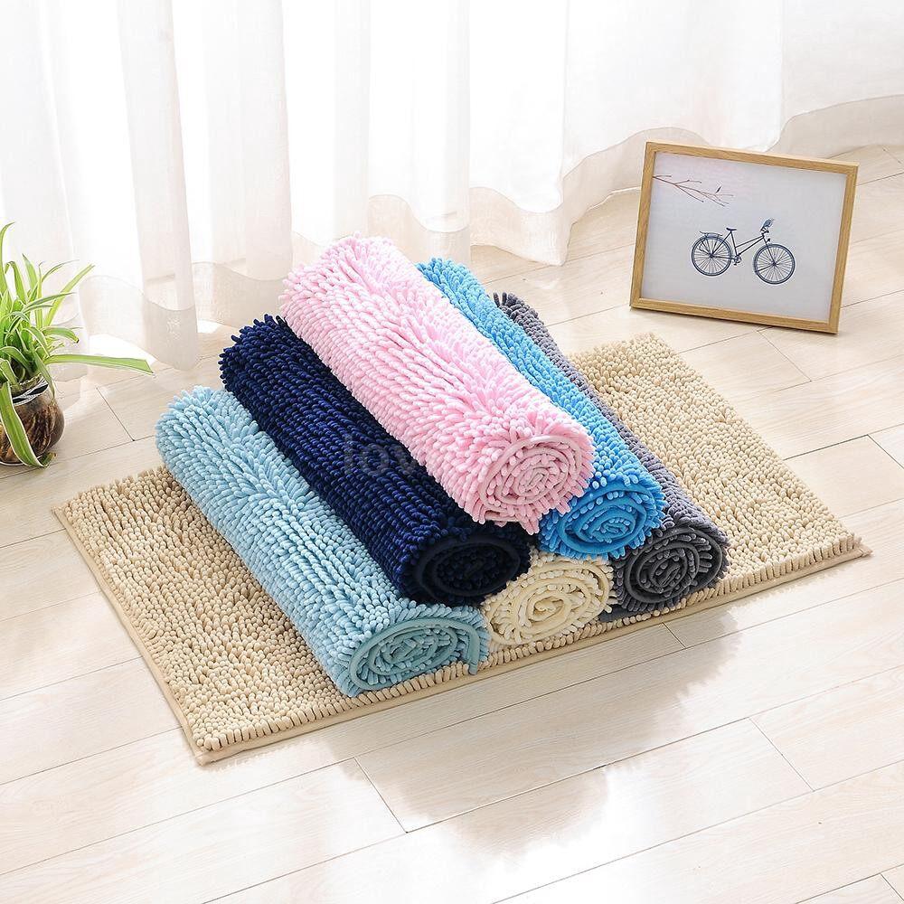Rugs & Carpets - Microfiber Bath Rugs Chenille Plush Floor Mat Carpet Soft Indoor Washable Bathr - PINK / DARK BLUE / LIGHT BLUE / BEIGE / GREY / ROYAL BLUE / CAMEL