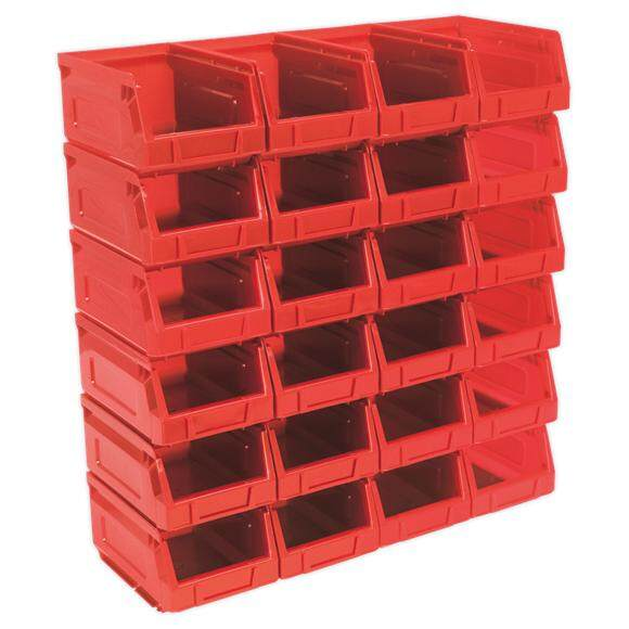 (Pre-order) Sealey Plastic Storage Bin 105 x 165 x 83mm - Red Pack of 24 Model: TPS224R