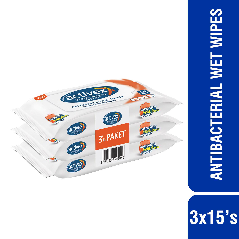 Activex Antibacterial Wet Wipes Active (15's x 3)