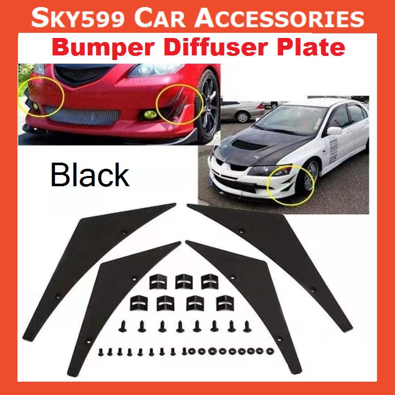 Universal Bumper Diffuser Plate Car Front Bumper Lip Splitter Body Spoiler Canard Refit [4pcs]