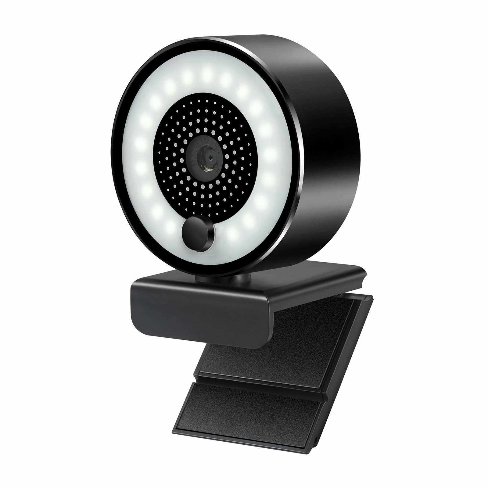 HD 2K USB Webcam Auto-focus 5MP PC Web Camera 1080P with Ring Fill Light Microphone for PC Laptop Video Conference Camera (Standard)