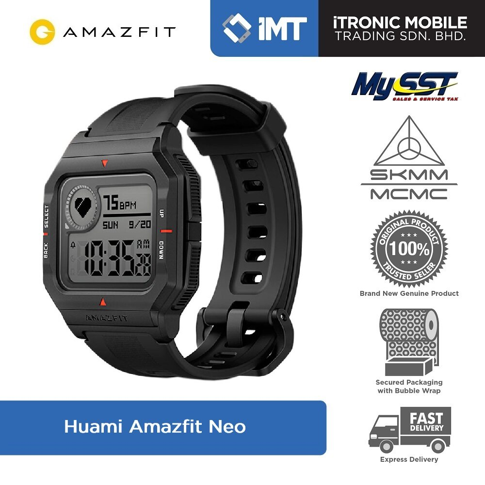 [MY] Huami Amazfit Neo Smartwatch - Black/Green/Red - Original Malaysia Set