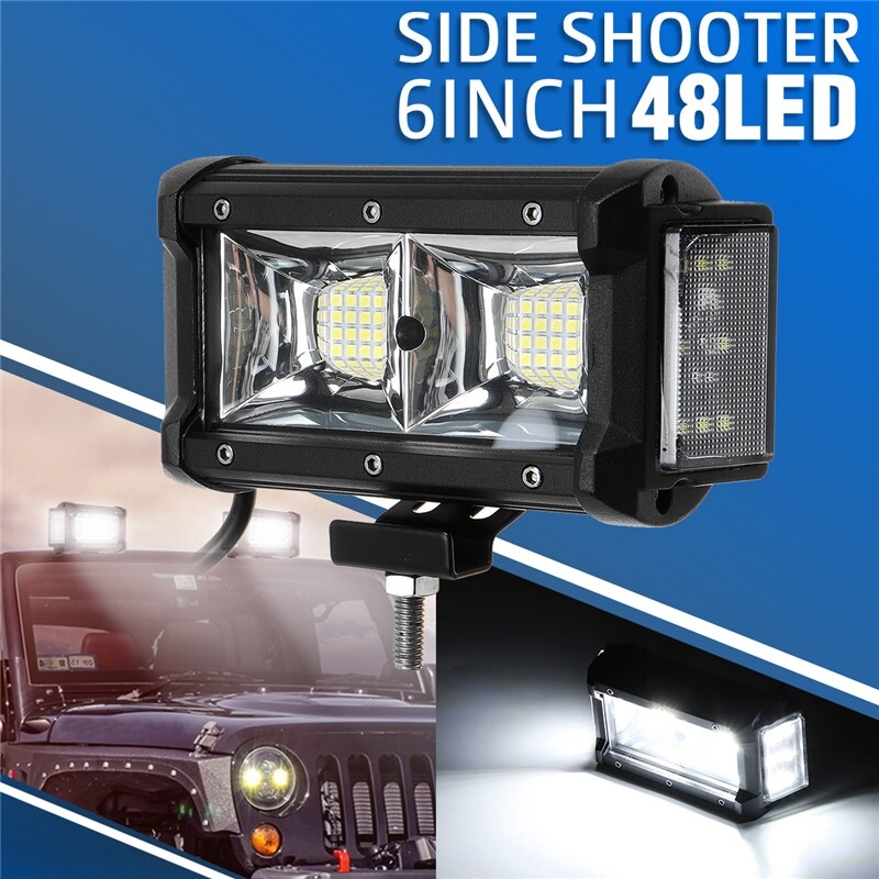 Car Lights - 6inch 144W 14400LM Dual Side Shooter LED Work Light Combo Offroad ATV Driving - Replacement Parts