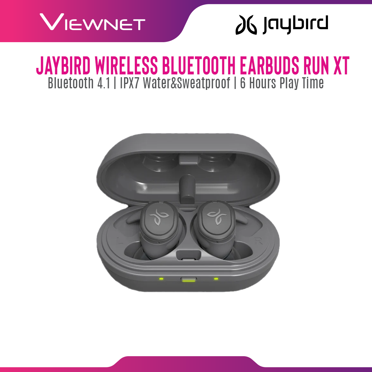 Jaybird RUN XT True Wireless Earbuds, 12 hours Battery Life with Charging Case, IPX7 Waterproof & Sweatproof, Sport Fit, Premium Sound with Custom EQ, Music and Calls