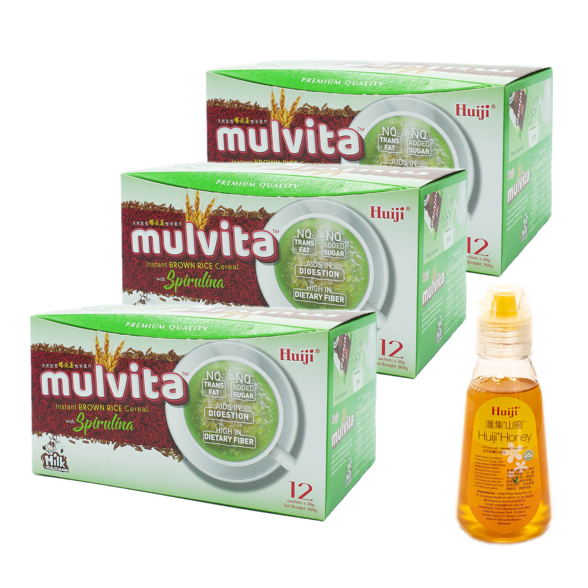 2x Huiji Mulvita Brown Rice Cereal with Spirulina + FREE Mulvita Brown Rice Cereal + FREE Honey 200g