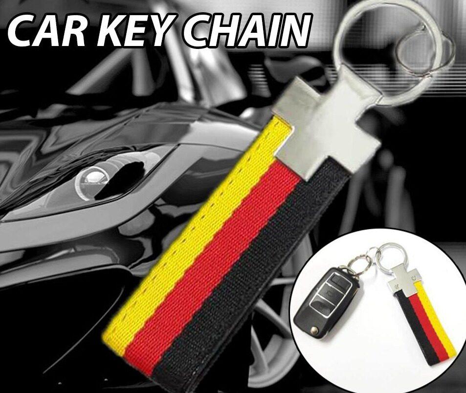 Broz Stainless Steel PVC Black Red Strap Key ring Key Chain Ring