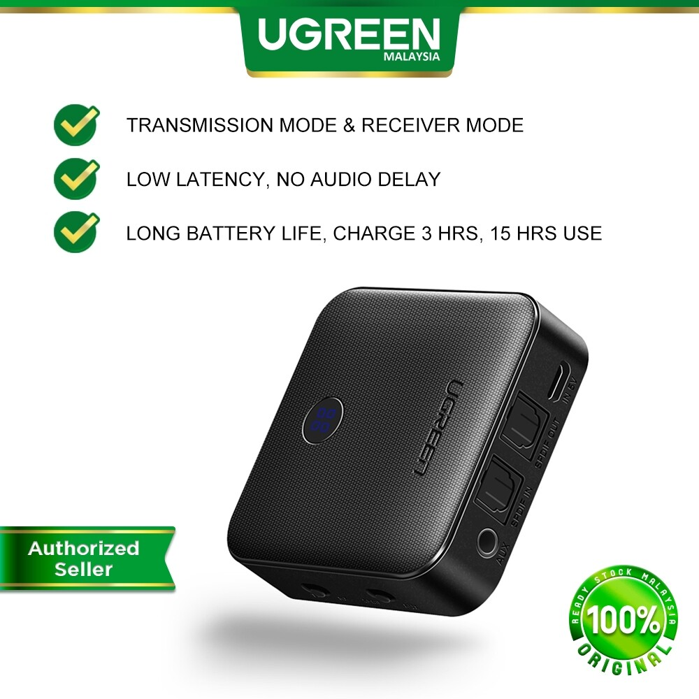 UGREEN Bluetooth 5.0 Transmitter Receiver APTX 2 in 1 Wireless Audio Adapter with Digital Optical TOSLINK and 3.5mm AUX AV Receiver for TV PC Headphone Home Stereo System Car Sound System Speaker