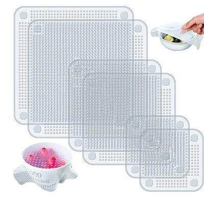 Silicone Bowl Covers Stretch Food Saver Wrap (TRANSPARENT)