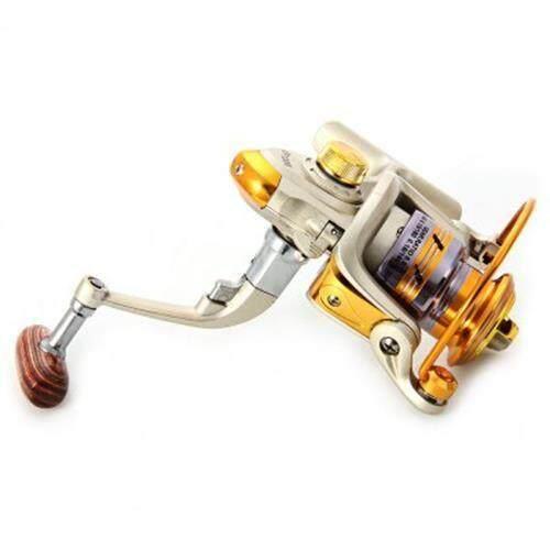 EF - 1000 METAL SPOOL SPINNING FISHING REEL CARRETILHA PESCA WHEEL 10-BALL BEARING 5.5 : 1 (CHAMPAGNE)
