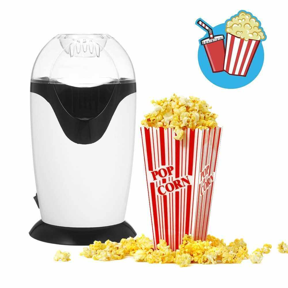 300ML Mini Electric Hot Air Popcorn Maker Popcorn Popper Machine with Measuring Cup Top Cover Low Fat No Oil Needed for Home Bar KTV Use White(EU) (Standard)