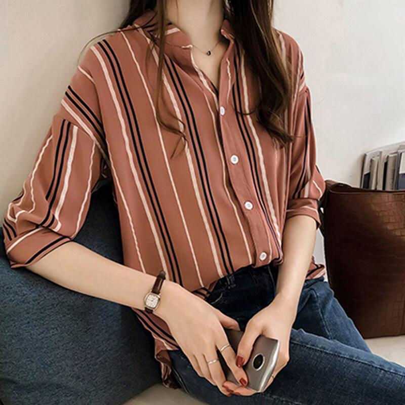 Women Loose Large Size Stripes Three Quarter Sleeve V Collar Shirt